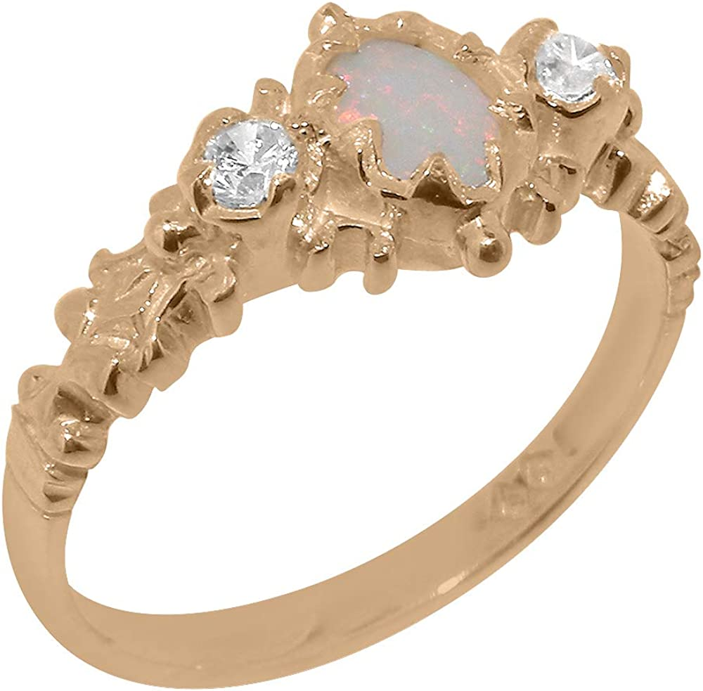 10k Rose Gold Natural Topics on TV Opal Womens Trilogy Ring Cubic Zirconia Cheap bargain