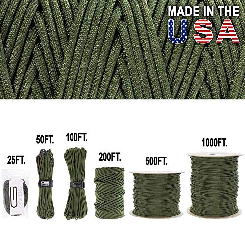 GOLBERG 750lb Paracord/Parachute Cord – US Military Grade – Authentic Mil-Spec Type IV 750 lb Tensile Strength Strong Paracord – Mil-C-5040-H – 100% Nylon – Made in USA (Camo Green, 1000 Feet)