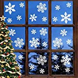 Leipple Pegatinas navideñas para ventana de copo de nieve – pegatinas de ventana de Navidad para decoración familiar oficina restaurante fiesta de vacaciones (5 hojas, 135 piezas)