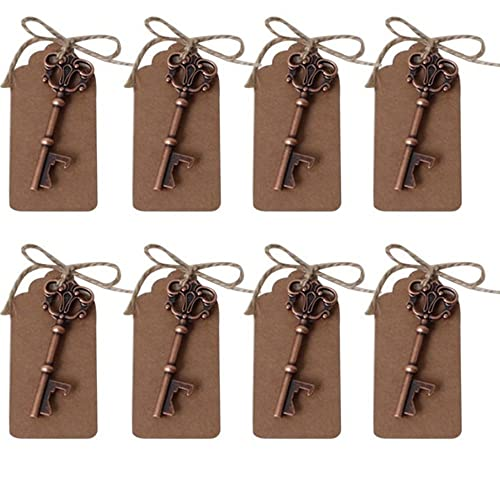 AmaJOY 40pcs key Bottle Openers with Escort Card Tag and Twine Copper Wedding Favours Antique Rustic Decoration