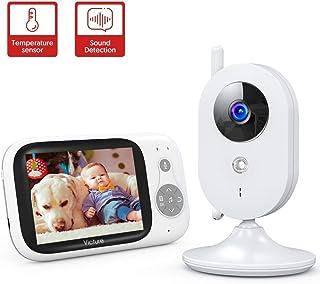 Victure Vigilabebés Inalambrico con cámara Monitor para Bebés Digital Compatible con Infrarrojos Sala de Visión Nocturna Audio Charla bidireccional Canciones de Cuna Pantalla LCD de 3.2