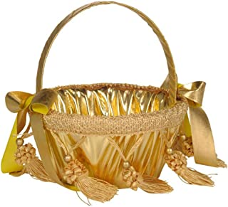 Mikilon Handle Flower Girl Basket with Tassel and 2 Bowknot for Rustic Wedding Bride Shower Ceremony Party (Gold)