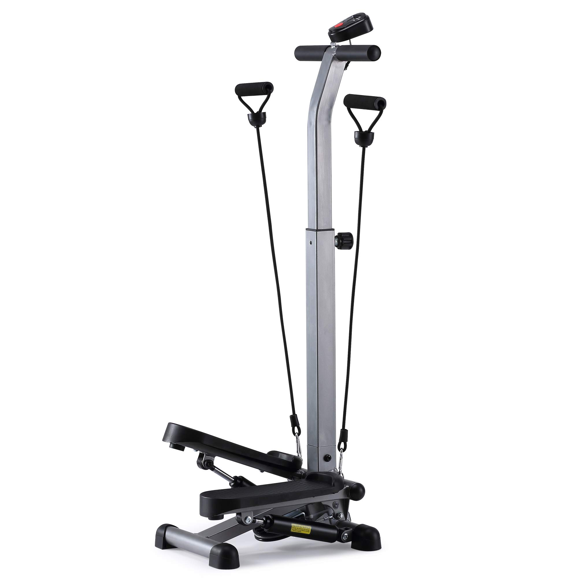 ECHANFIT Step Machine Stepper with Handlebar for Balance Arm Training Resistance Bands and Electronic Monitor for Home Workout and Cardio Fitness