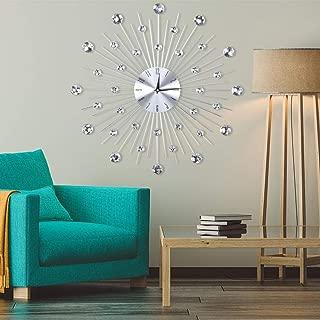 AUNMAS Wall Clock Sparkling Bling Metallic Silver Rhinestone Hanging Clock for Living Room Office Decoration(1)