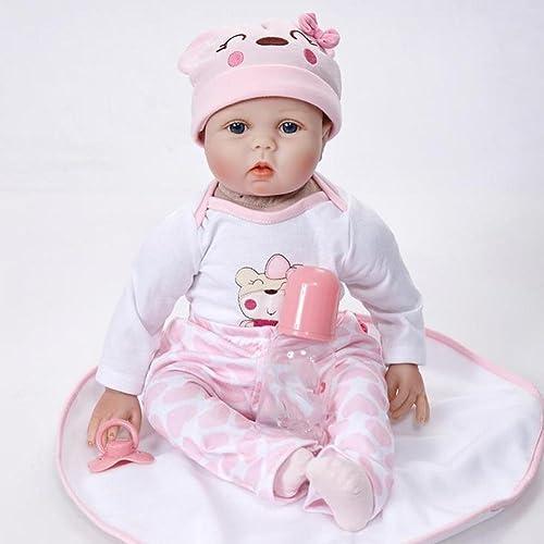 SHTWAD 21.7 Zoll Realistische Reborn Baby-Puppe Tuch   Silikon Augen Ge net Magnet Mund Mohair Vorschul Spielen Spielzeug Geburtstag Geschenk