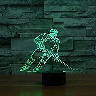 Illusion night light visual junto a la cama jugador de hockey lámpara de mesa regalo para