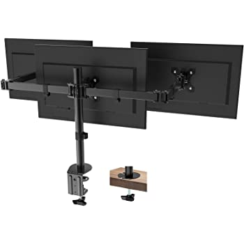 "PUTORSEN® Triple Monitor Stand for 13-27"" LCD LED Screens - Three Arm Desk Mount Bracket - Ergonomic ±90° Tilt, 360° Rotation & 360° Swivel Arms - VESA Dimensions: 75x75-100x100, Up to 7kg per Arm"