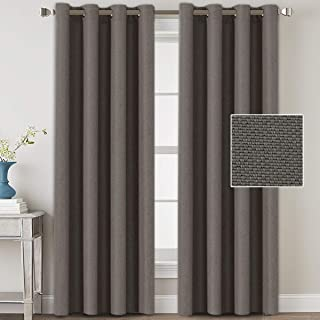 H.VERSAILTEX Linen Blackout Curtains 108 Inches Long Room Darkening Heavy Duty Burlap Efffect Textured Linen Curtains/Draperies/Drapes for Living Room Bedroom - Taupe Gray (2 Panels)