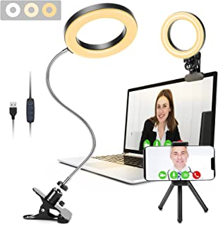 Video Conference Lighting, GINAVE LED Desk lamp with Clip and Detachable 360 ° Flexible Gooseneck, Zoom Lighting for Compu...