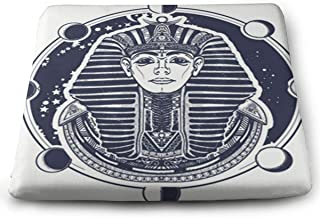 SZjinghao Chair Square Cushion,Seat Cushion for Home Office Dinning Chair Solid Color Indoor Outdoor,Chair Pads Pharaoh Vector Tattoo and T-Shirt Design Egyptian Golden Mask Ethnic