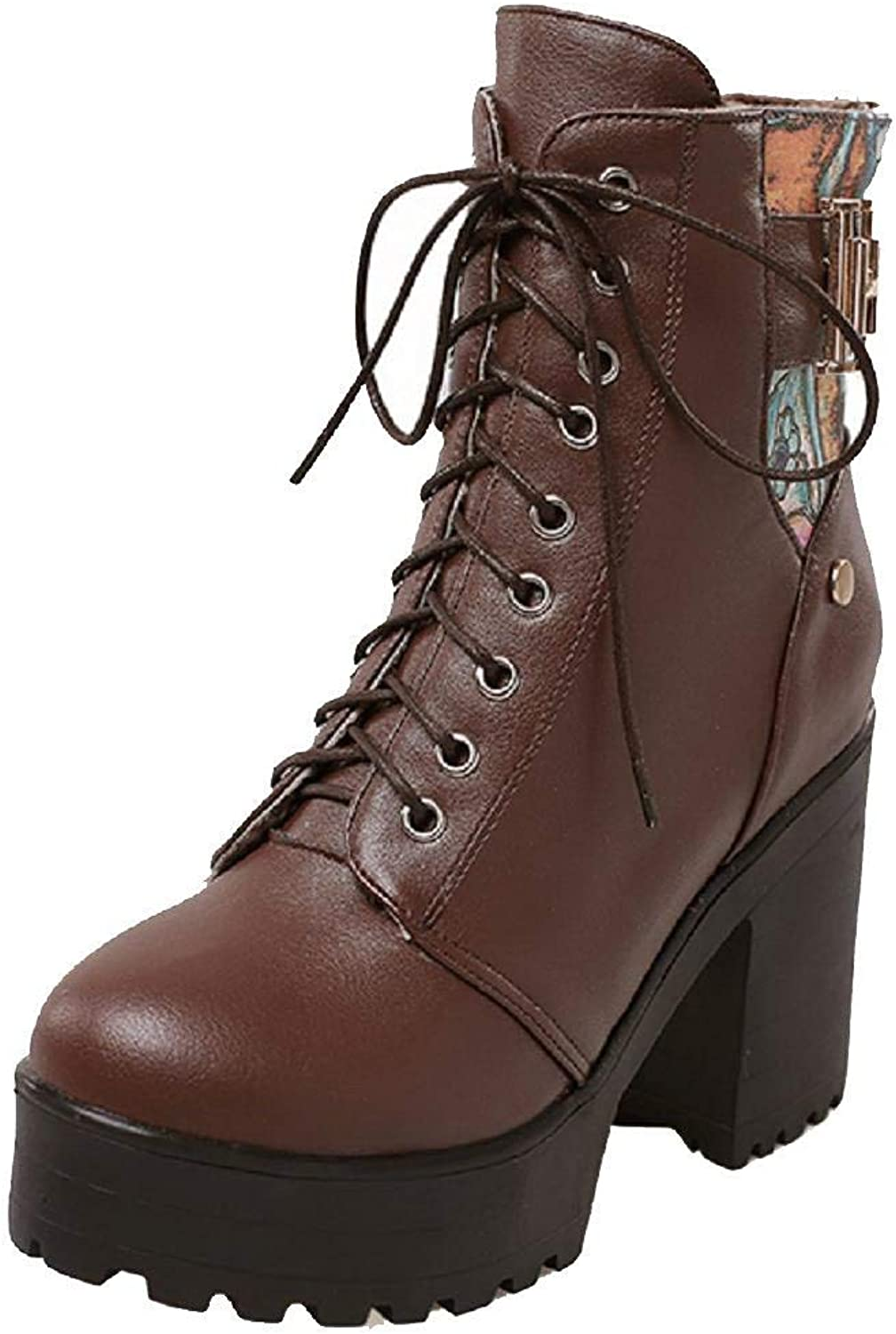 Women's PU Low-top Assorted color Lace-up High-Heels Boots