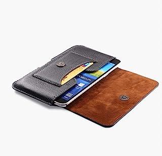 DFV mobile - New Design Leather Horizontal Belt Case with Card Holder for HTC Desire 19s (2019) - Black
