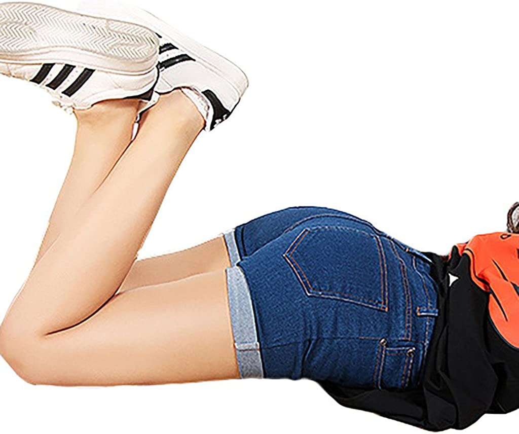 ZANLICE Women's Plus Size Crimping Shorts Button Down Denim Short