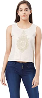 Fusion Beats Women Polyester Birch Embroidered Top