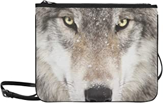 Grey Wolf Portrait Animal Pattern Custom High-grade Nylon Slim Clutch Bag Cross-body Bag Shoulder Bag