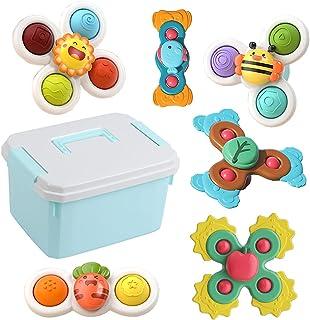 Bemixc お風呂おもちゃ 水遊び 吸盤付き スクイーズ玩具 歯がため 子供知育玩具 6点 収納ケース付き