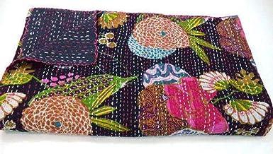 Yuvancrafts Indian Handmade Black Fruit Print Kantha Quilt Twin Size Cotton Kantha Throw Blanket Bedspread Single Quilt