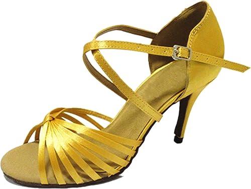BYLE Sangle de Cheville Sandales en Cuir Chaussures de Danse Modern'Jazz Samba Adultes d'été Chaussures de Danse Latine Chaussures Chaussures de Danse Latine Sangle Jaune