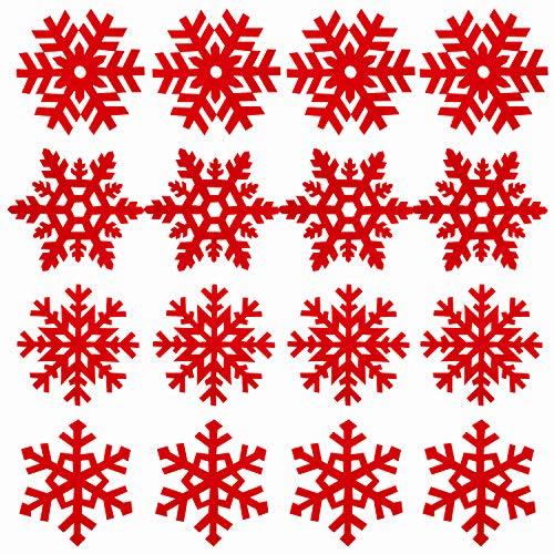 Whaline - Confezione da 16 sottobicchieri natalizi con motivo a fiocco di neve rosso, per vino, tè, caffè, confezione regalo per Natale, feste, inverno, matrimoni, cene (4 stili)