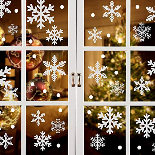 White Snowflakes Window Decorations Clings Decal Stickers Ornaments for Christmas Frozen Theme Party New Year Supplies-8 Sheets, 196pcs