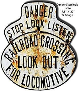 Garage Art Signs Danger Stop Look Railroad Crossing Laser Cut Out Reproduction 17.5x20