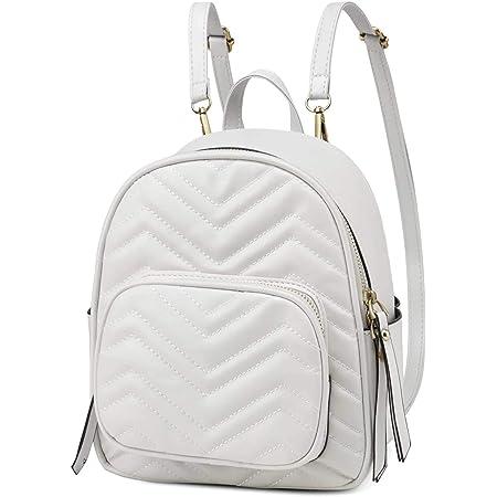 Kasgo Mini Rucksack Damen, Kunstleder Klein Elegant Handtasche für Mädchen Frauen Hochschule Tagesrucksack Daypack Beige