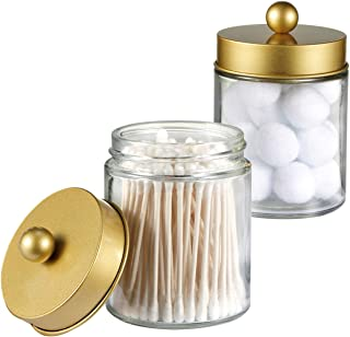 Apothecary Jars Bathroom Storage Organizer -Countertop Storage Organizer Canister Jar - Cute Qtip Dispenser Holder Glass with Lid- for Cotton Swabs,Bath Salts,Hair Band / 2-Pack(Gold)