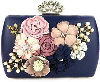 LVfenghe Luxury Flower Pearl Banquet Clutch Bag Crown Rhinestone Lock Evening Dress Wedding Dress Party PU Bag Shoulder Strap Chain Bag Size: 18.5 * 6.5 * 14.5cm (Color : Blue)