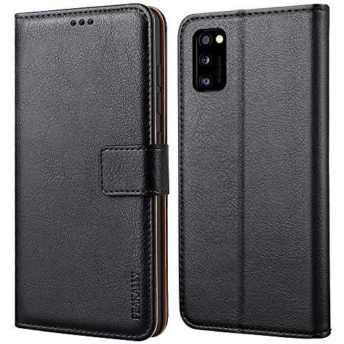 Peakally Samsung Galaxy A41 Hülle, Premium Leder Tasche Flip Wallet Case [Standfunktion] [Kartenfächern] PU-Leder Schutzhülle Brieftasche Handyhülle für Samsung Galaxy A41-Schwarz