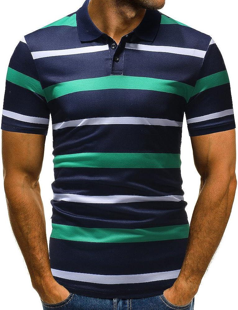 YEBIRAL Polos Manga Corta Hombre, Camiseta Rayas Casual Slim ...
