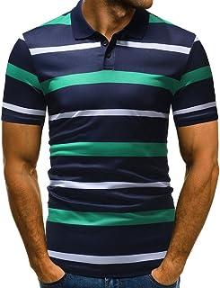 Camiseta para Hombre,Verano Polo Rayas Impresión Camiseta Deporte Manga Corta Originales Moda Slim Fit Casuales T-Shirt Blusas Camisas algodón Suave básica vpass