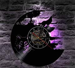 CHENFANGYUAN Wolf Vinyl Record Wall Clock Classic Home Decor Animals Handmade Cd Time Clock Wolf Lover Gift