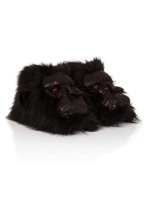 Mens Gents Soft Fleece Quality Novelty Animal 3D Slippers - Wolf & Big Foot