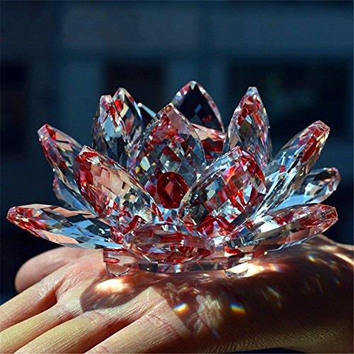 Bouquet de fleurs de lotus en cristal - Grande taille - Artisanat - Décoration pour la maison - De toutes les couleurs - Cadeau pour un anniversaire, un mariage, Verre cristal, Red