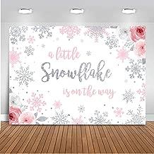 Mocsicka Snowflake Baby Shower Backdrop Winter Wonderland Baby Shower Photography Background 7x5ft Vinyl Girl Snowflake Winter Baby Shower Backdrops