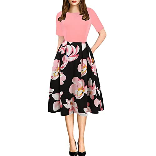 2ff6a8a30 oxiuly Women's Vintage Patchwork Pockets Puffy Swing Casual Party Dress  OX165