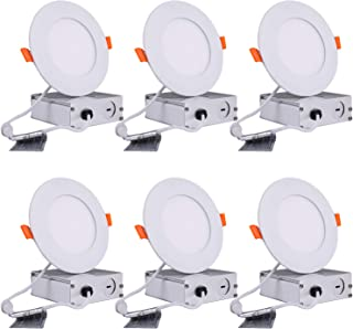 LPINYE 6 Pack 4 Inch Ultra-Thin Recessed Ceiling Light with Junction Box, Led Can Lights, Recessed Downlight, Dimmable, 12W=70W,960LM,FC,ROHS,CE,ETL and Energy Star Certified (3000K (Warm White))