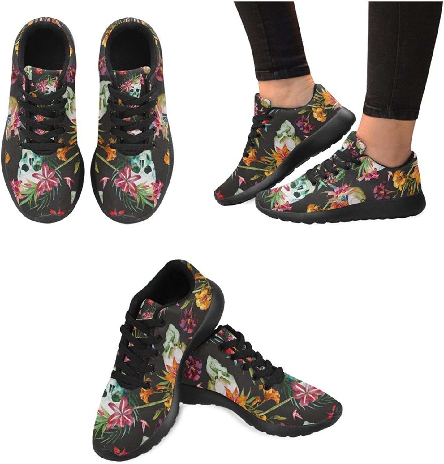 InterestPrint Graphic Skull Pattern Pattern Print on Women's Running shoes Casual Lightweight Athletic Sneakers US Size 6-15