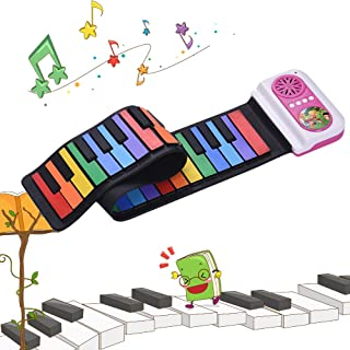 Decdeal 49-Key Portable Roll-Up Piano Silicon Electronic Keyboard Colorful Keys Built-in Speaker Musical Toy for Children ...