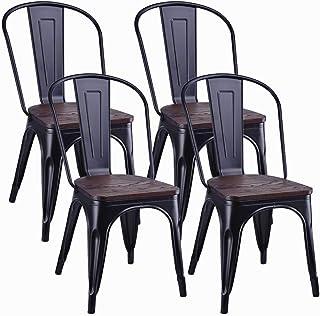 Juego de 4 sillas de Comedor de Metal, con Respaldo y Asiento de Madera, Silla de Cocina apilable Vintage Industrial de Metal con Respaldo Alto para, Restaurante de Boda, café y Patio (negro)
