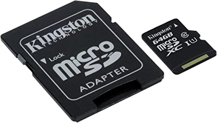 DAM. SDCSC64GB. Microsd Classe 10 Uhs-I Card Kingston 64Gb + Adattatore di Classe 10 Uhs-I Card Kingston 64Gb. Nero