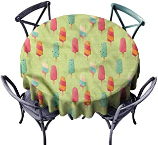 FANOEWI Creative Round Tablecloth Ice Cream Sweet Summer Treats Buffet Table,Parties,Holiday Dinner,Wedding,Picnic,Patio,Kitchen,Dining,Family Room D43