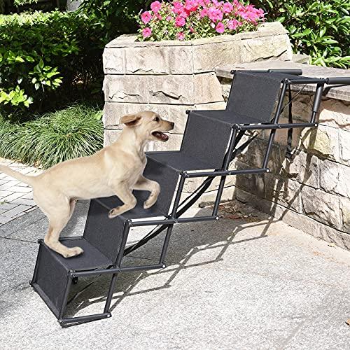 TELAM Escaleras/rampa Plegables para Mascotas, Escalera de Perro para Ayudar en la Entrada con 4/5 escalones pequeños para Camas Altas, Camiones, automóviles y SUV, con Capacidad para hasta 17