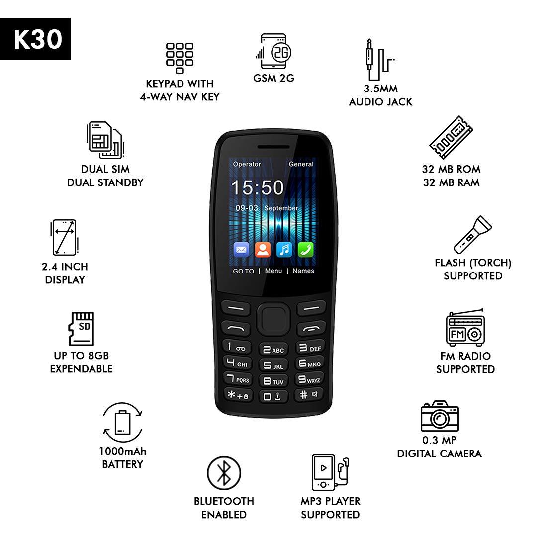 IKall K30 Multimedia Mobile (2.4 Inch Display, Dual Sim, 0.3MP Camera, MP3, Call Recording) (Black)