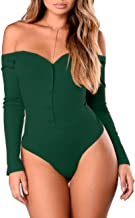 VESTIDOS Womens Love Bodysuit Cute Off Shoulder Long Sleeve Bodysuit Button Up Leotard Jumpsuits Dark Green M