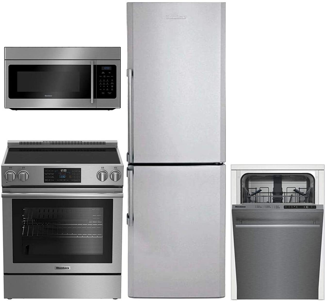 Blomberg 4-Pcs Apartment Size Kitchen Package with BRFB1322SS 24