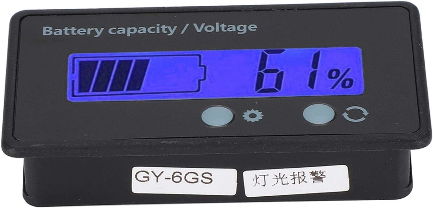Evonecy Voltmeter, Battery Capacity Indicator LCD Display Easy to Set Up for Acid Battery for Lithium Battery(Blue, Pisa Leaning Tower Type)