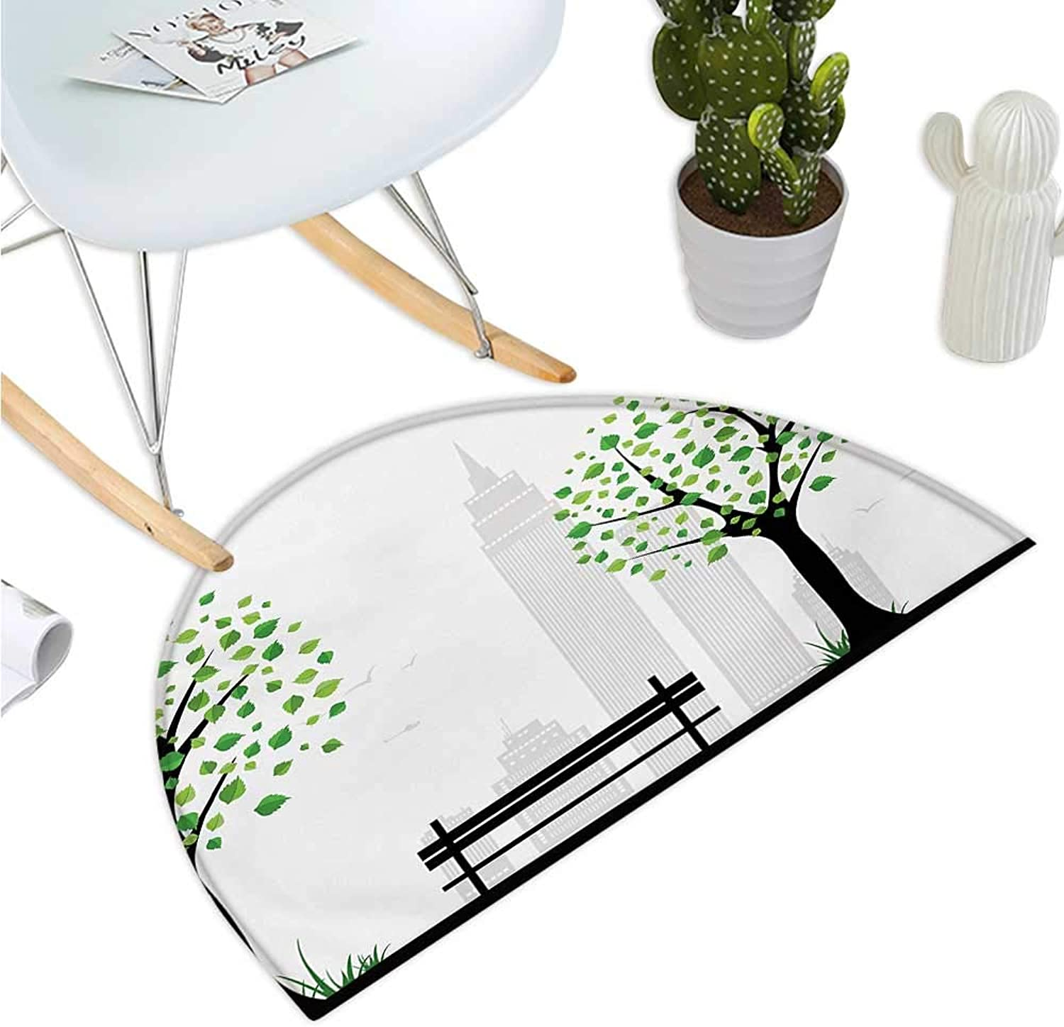Leaf Semicircle Doormat Minimalist City Figures with Simple Lines and Leaf Patterns in Boho Design Print Halfmoon doormats H 47.2  xD 70.8  Green Black