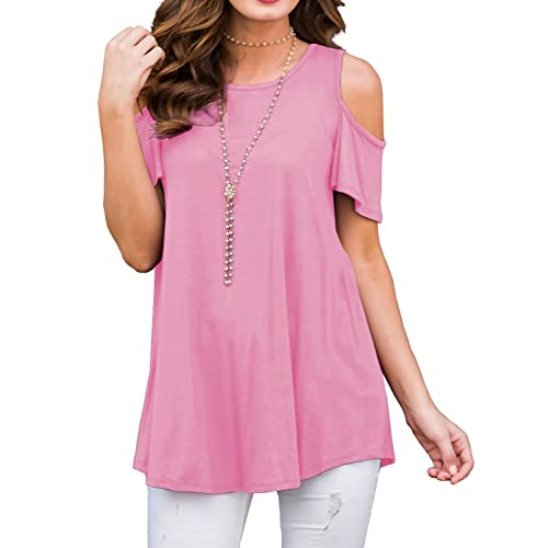 44aada93e483f PrinStory Women's Short Sleeve Casual Cold Shoulder Tunic Tops Loose Blouse  Shirts