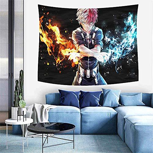 KKSJK My Hero Academia Wandteppich Wandbehang Tuch, Anime Tapisserie Cartoon Wandtuch groß 3D Druck für Wohnzimmer Schlafzimmer Heimdekoration Anime Geschenke 59x70in (Schwarz)
